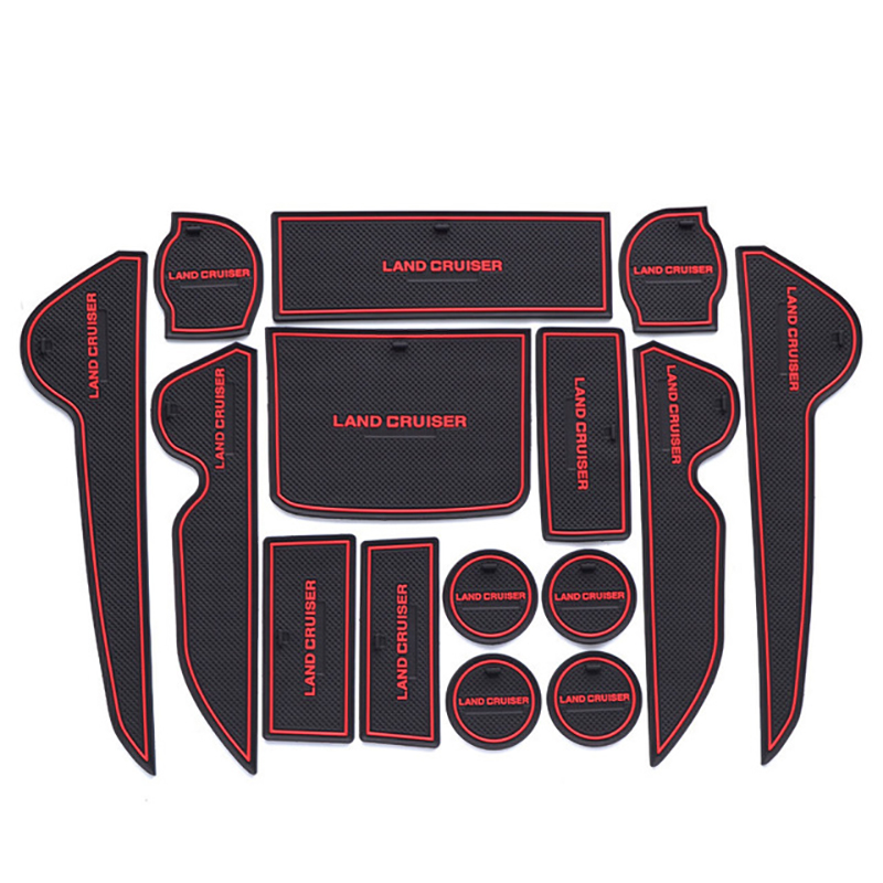 15PCS Rubber Non-Slip Interior Door Mat For Toyota Land Cruiser V8 200 FJ200 LC200 2008-2015 2016 2017 2018 2019  Accessories