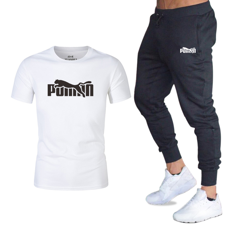 New Hot Men's Sets T Shirts + Pants Two Pieces Sets Casual Tracksuit Basketball New Fashion Print Suits Sportwear Fitness Shirts