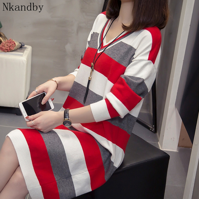 Plus Size V Neck Long Pullover 2019 Autumn Winter Clothes Casual Loose Striped Sweater Dress Oversized Vintage Ladies Knit Wear