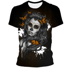 2021 New Fashion 3D Skull Print Hip Hop Cool Handsome T-Shirt For Men And Women Large Size