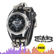 ใหม่แฟชั่นสไตล์โกธิค Creative นาฬิกาผู้ชาย Rock Punk Cuff Bullet Chain นาฬิกาควอตซ์ Cool Skull สร้อยข้อมือของขวัญยอดนิยม reloj Hombre