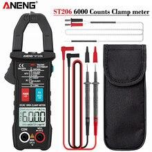 Aneng st206 digital braçadeira medidor multímetro 6000 contagens rms verdadeiro amp dc/ac corrente braçadeira medida dc amperimetro tester voltímetro
