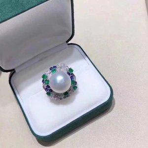Image 2 - D113 Fine Pearl แหวนเครื่องประดับ 925 เงินสเตอร์ลิงธรรมชาติสดน้ำ 15 14mm สีขาว Peals แหวน fine ไข่มุกแหวน