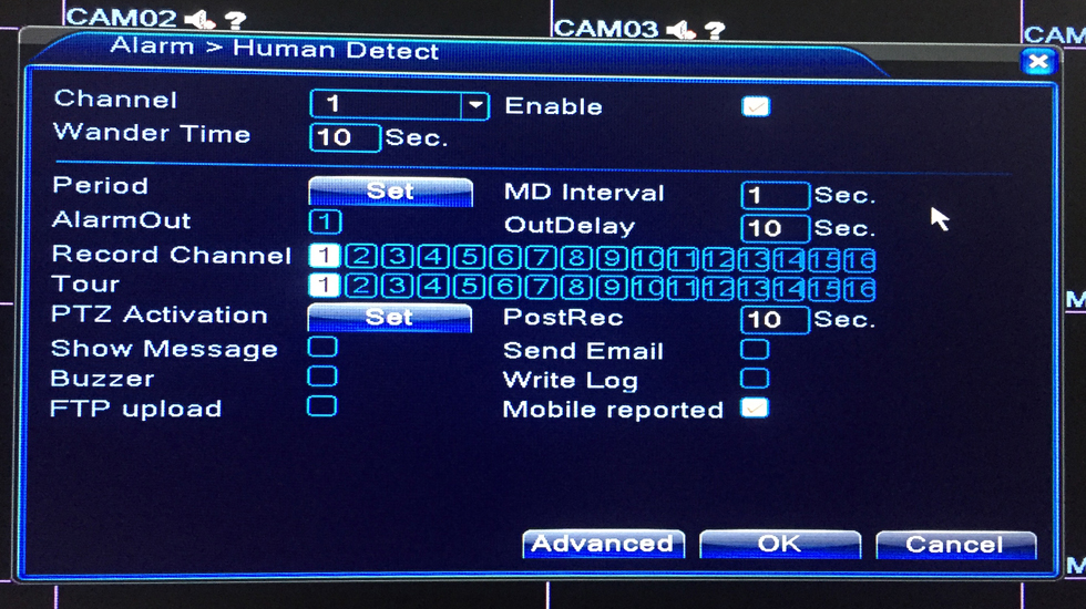 Human detect alarm