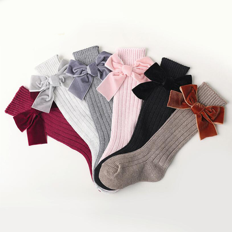 Big Velvet Ribbon Bowknot Toddler Girls Socks Autumn Knee High Long Socks For Girls Kids Booties Socks Children Leg Warmer
