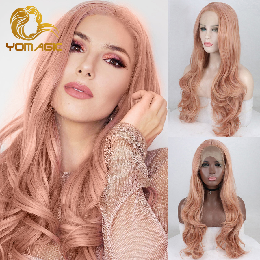 Yomagic Hair Rose Pink Synthetic Hair Wigs With Natural Hairline Long Body Wave Glueless Lace Front Wigs With Middle Part