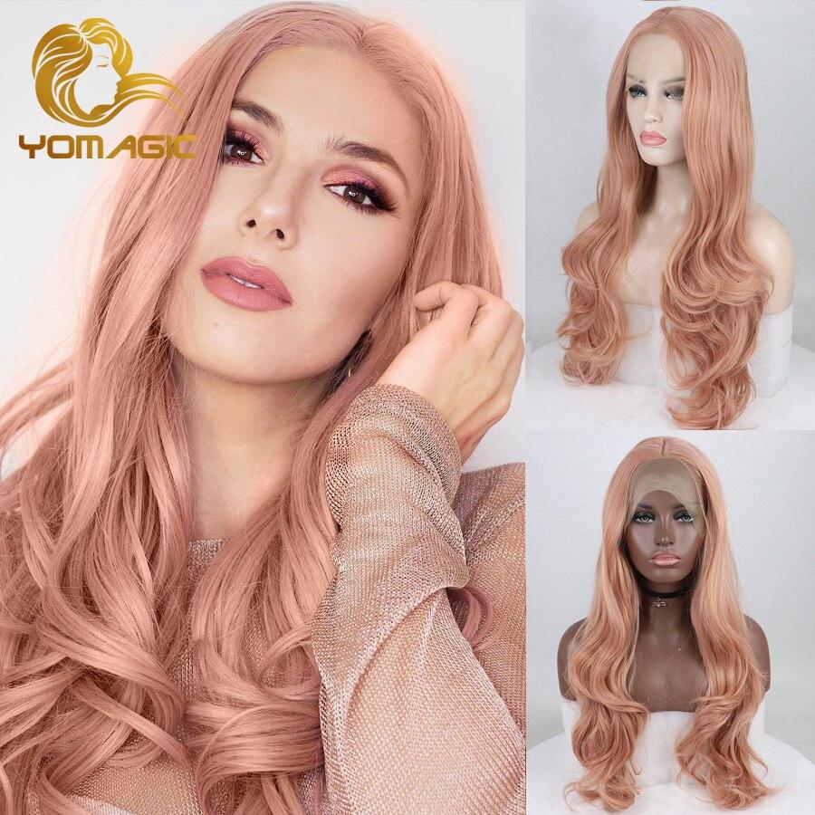 Perruque Lace Front wig avec raie au milieu synthétique | Perruque Body Wave longue Rose avec raie naturelle, sans colle