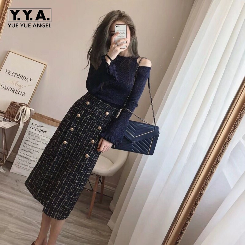 Vintage Sexy Off The Shouler Flares Sleeves Knitted Top High Waist Doubule Breasted Medium Length Skirts Womens 2Pcs Outfits