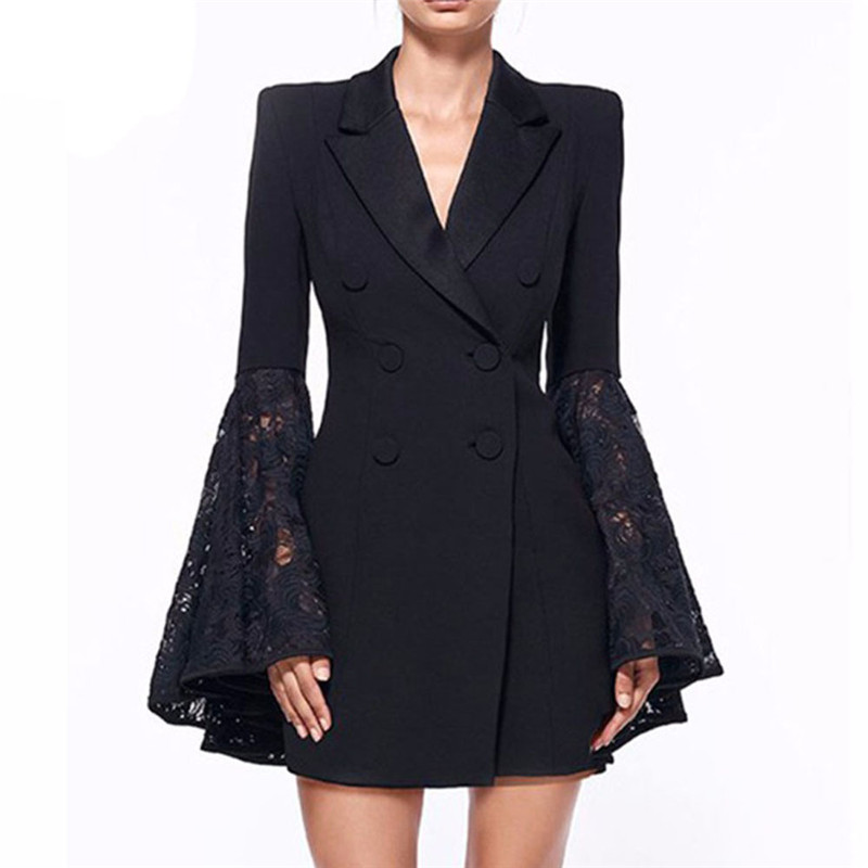 2019 Fashion Autumn Winter Fanco Lace Coat For Women Hollow Out Flare Sleeve V-Neck Double Breasted Tunic Plus Size Blazer Black