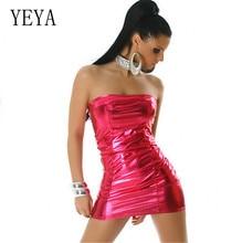 YEYA PU Bright Leather Mini Bag Hip Fashion Short Dress Sexy Off Shoulder Backless Summer Reflective Women Strapless Tube