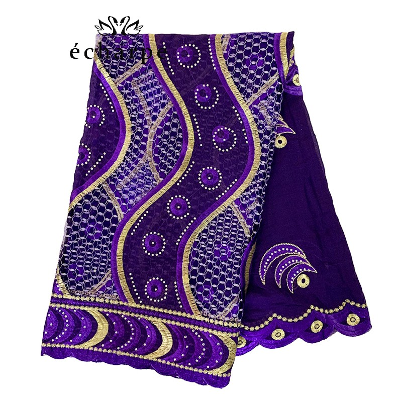 2020 New High Quality African Women Scarfs 100% Cotton Embroidery With Net Double Design Big Size Hijab Scarf For Shawls EC203