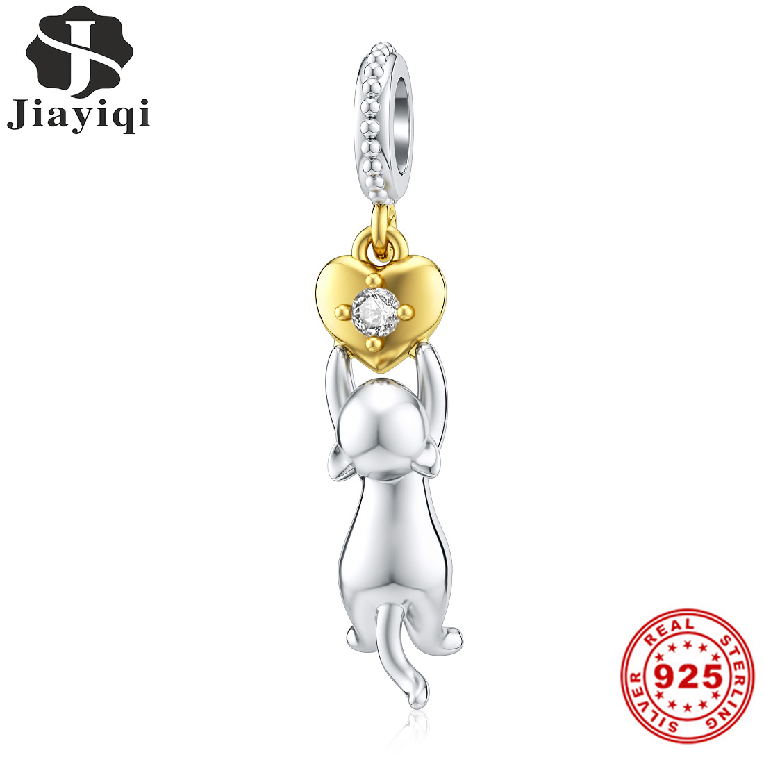 Jiayiqi Cute Cat Grab Heart 925 Silver Charms DIY Making Bead Fit Pandora Bracelet Sterling Silver Fine Jewelry Finding