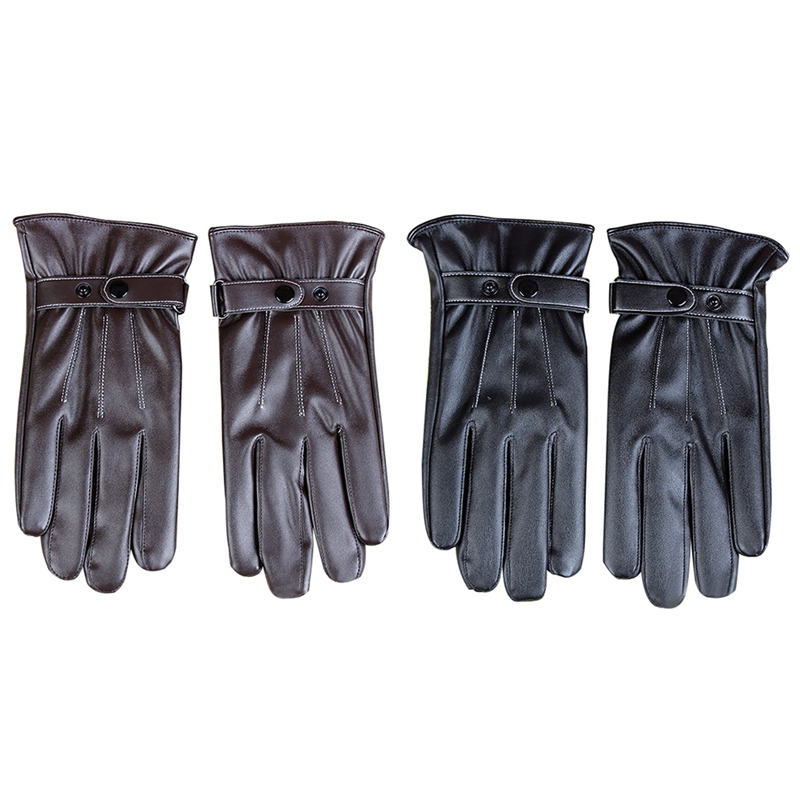 Mens Gloves Black Brown Winter Warm Mittens Touch Screen Windproof Velvet Lining Driving Skiing Male PU Leather Gloves