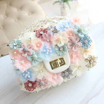 Women Fashion Artificial Flower Handbag PU Leather Pearl Diamond Studded Sweet Clutch Purse Crossbody Shoulder Bag Elegant Lady