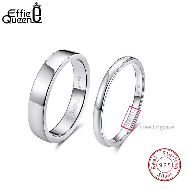 Effie Queen 925 Sterling Silver Simple Couple Ring Lovers' Geometric Wedding Engagement Rings Fine Jewelry Engrave Words TSRC1