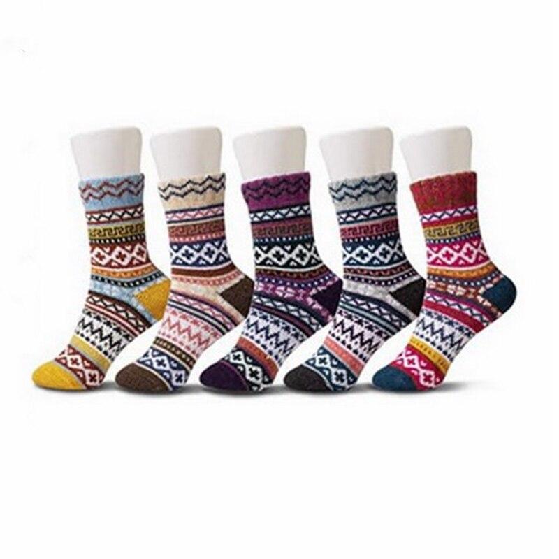 Женские Модные осенние и зимние европейские женские шерстяные теплые носки толстые сапоги носки Забавные милые винтажные носки