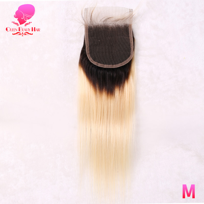 Reina belleza brasileña recta 613 Cierre de encaje Rubio 2 tonos raíces oscuras Remy cabello humano cierre nudos blanqueados con pelo de bebé-in Cierres from Extensiones de cabello y pelucas on AliExpress - 11.11_Double 11_Singles' Day 1
