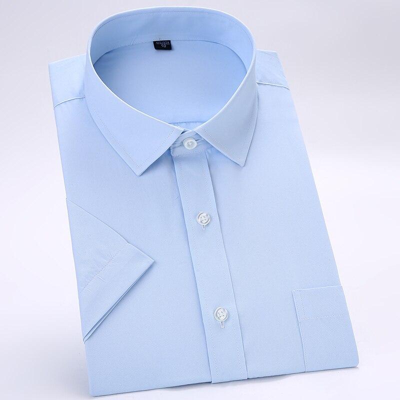 Men's Summer Casual Short Sleeve Dress Shirts Easy Care Regular-fit Formal Business Social Work Office Solid Basic Shirt