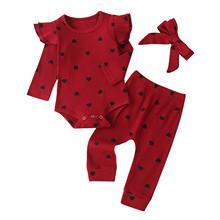 Bożonarodzeniowe ubranka dla niemowląt maluch dzieci dziewczynek nadruk w kształcie serca stałe wzburzyć Romper + spodnie + opaski stroje dziewczyna zimowe stroje tanie tanio Poliester W wieku 0-6m 7-12m 13-24m CN (pochodzenie) Unisex Moda O-neck Swetry Pełna REGULAR Pasuje prawda na wymiar weź swój normalny rozmiar