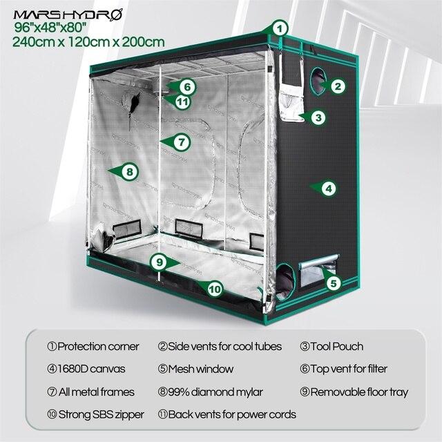 1680D Mars Hydro 240X120X200cm Indoor LED Grow Tent Indoor Growing  2