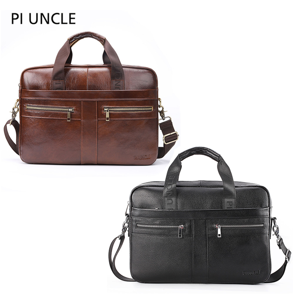 PINULE Bag Men's Genuine Leather Briefcase Male Man Laptop Bag Natural Leather For Men Messenger Bags Men's Briefcases 2019