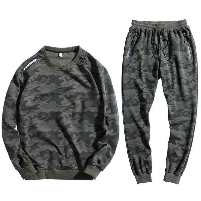 L-10XL הסוואה גברים ספורט סט ריצה כותנה קטיפה סווטשירט + מכנסיים 2 חתיכות סט מקרית Sportsuits זכר החורף גדול גודל