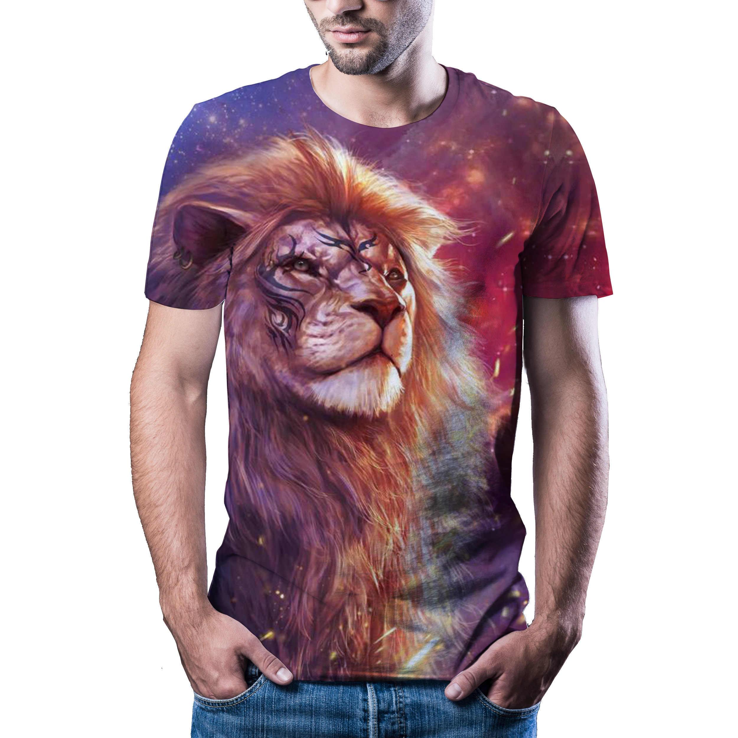 2020 yeni erkek kaplan T-shirt baskı yaz hayvan doğa T-shirt marka tişört büyük boy moda kısa kollu shirtXXS 6XL