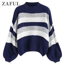 Женский трикотажный свитер в полоску с высоким воротником и