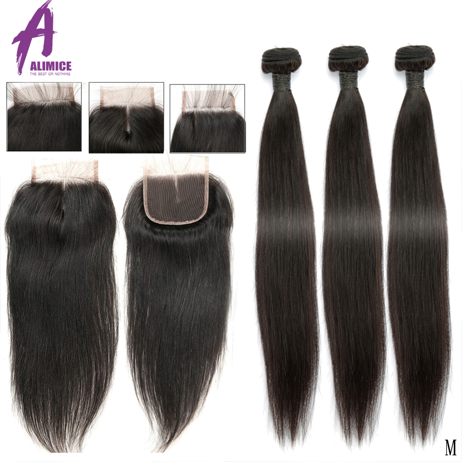 Straight Human Hair Bundles With Lace Closure Brazilian Hair Weave Bundles With Closure Remy 3 Bundles With Closure Middle Ratio