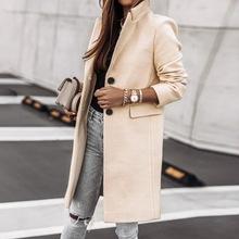 CALOFE 2020 Fashion Women długi płaszcz wełniany jednorzędowy Design z długim rękawem Solid Color skręcić w dół kołnierz ciepły kardigan Top tanie tanio Poliester Akrylowe CN (pochodzenie) Wiosna jesień REGULAR women jacket Osób w wieku 18-35 lat O-neck Otwórz stitch Pełna