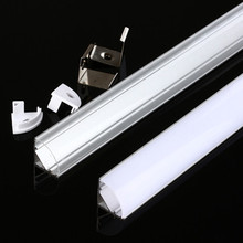 2-30pcs / lot V Style 45 degree angle aluminum profile 0.5M for 3528 5050 5630 LED strips channel For led aluminum channel