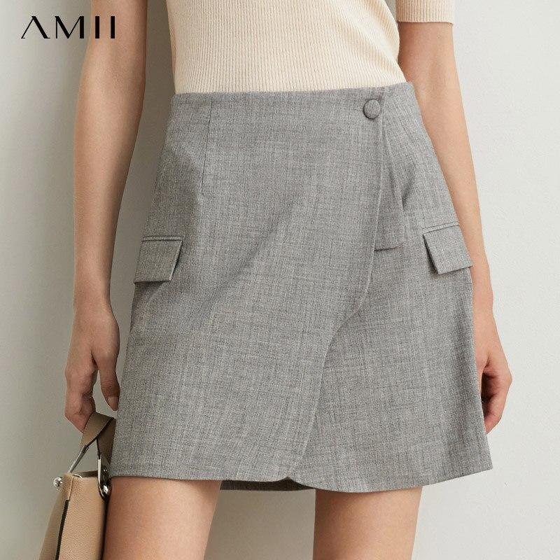 Amii Minimalist Irregular Suit Skirt Autumn Women Solid High Waist Elegant Female Mini Skirt 11930328