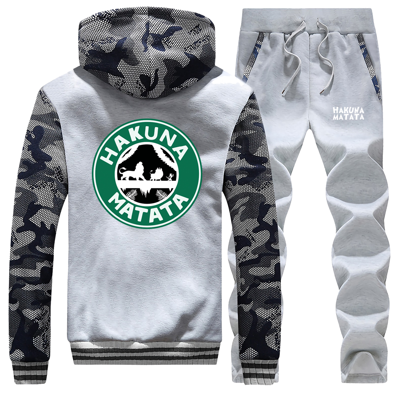 The Lion King Tracksuits Jacket Pant Set Men Hakuna Matata Cartoon Simba Pumbaa Timon Sweatpant Sets Suit 2 PCS Coat Sportswear