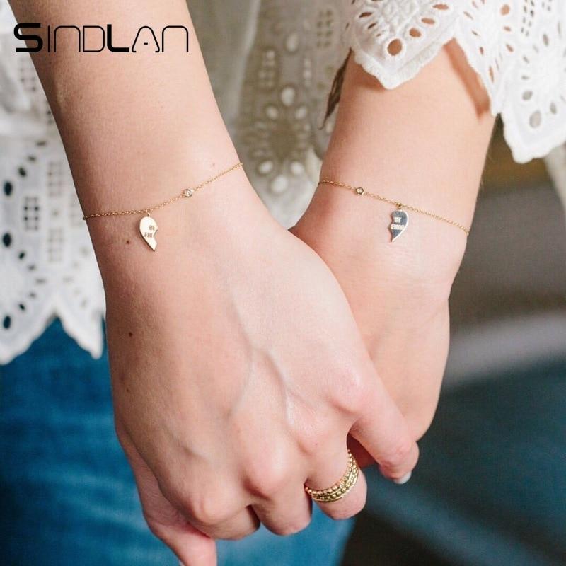 Sindlan 1Pair Unisex Best Friend Bracelets For Women Men Boys Girls Simple Wrist Chain Heart Charm Friendship Bracelet Jewelry