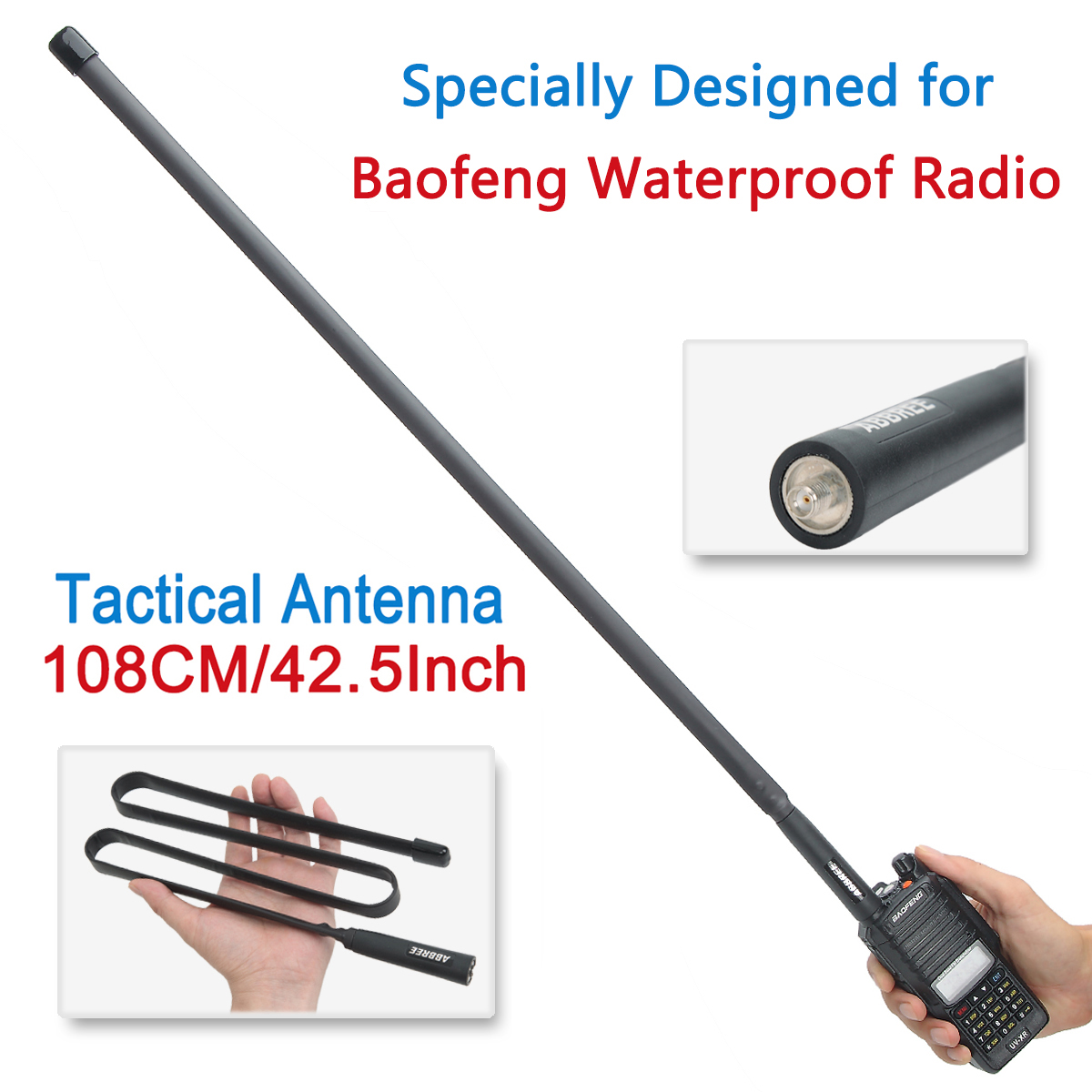 ABBREE AR-152 SMA-Женская VHF UHF тактическая антенна для Baofeng UV-9R Plus UV-XR BF-9700 Водонепроницаемая рация Двусторонняя радиосвязь