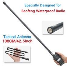 ABBREE AR 152 sma kadın VHF UHF taktik anten için Baofeng UV 9R artı UV XR BF 9700 su geçirmez Walkie Talkie iki yönlü radyo
