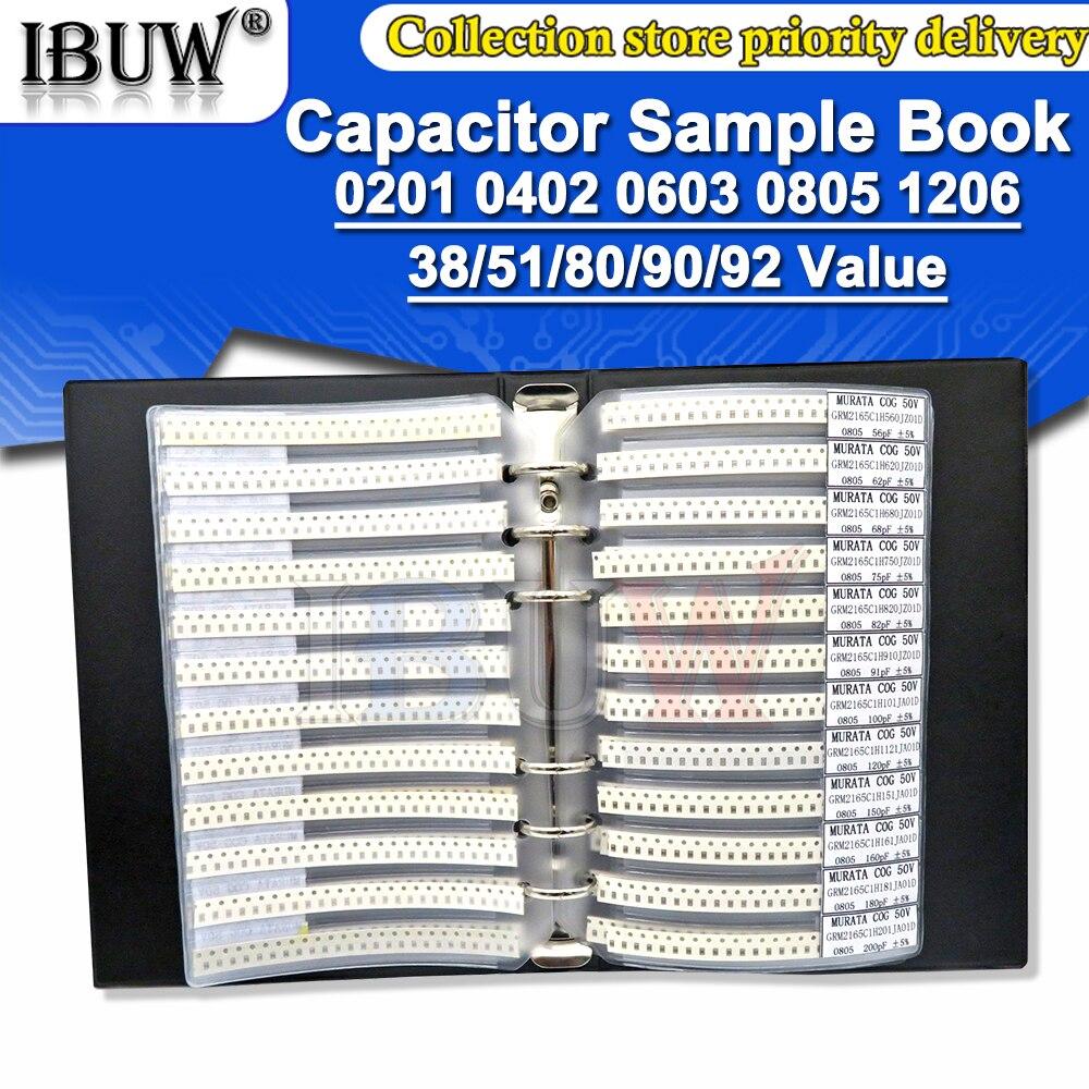 950 шт., 2550 шт., 4500 шт., 0201, 0402, 0603, 0805, 1206, тетрадь образцов конденсаторов ibuw SMD, набор в ассортименте, 10 мкФ, 1 нФ, ПФ, 10 нФ