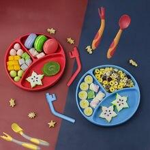 Hipac livre bebê silicone placa de jantar adorável smiley rosto almoço utensílios de mesa cozinha pratos frutas crianças pratos tigelas