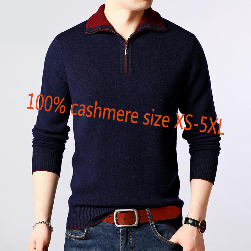 Turtleneck Sweater Zipper-Collar Cashmere Thickened Autumn Male Winter Plus-Size Casual