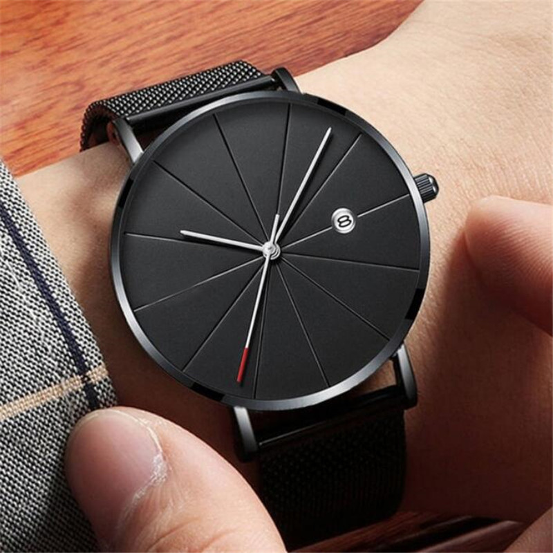 Ultra-thin Watches Classic Steel Quartz Date Wristwatch Casual Mesh Belt Masculino Relogios Relojes Para Hombre Reloj Hombre