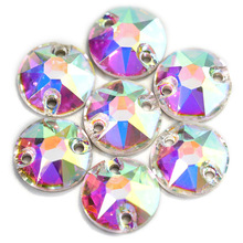 AAAAA Quality 16 Facets Round Sew On Rhinestones Clear Crystal AB Sewing on Stone Shiny Glass Diamond for Garments B1087