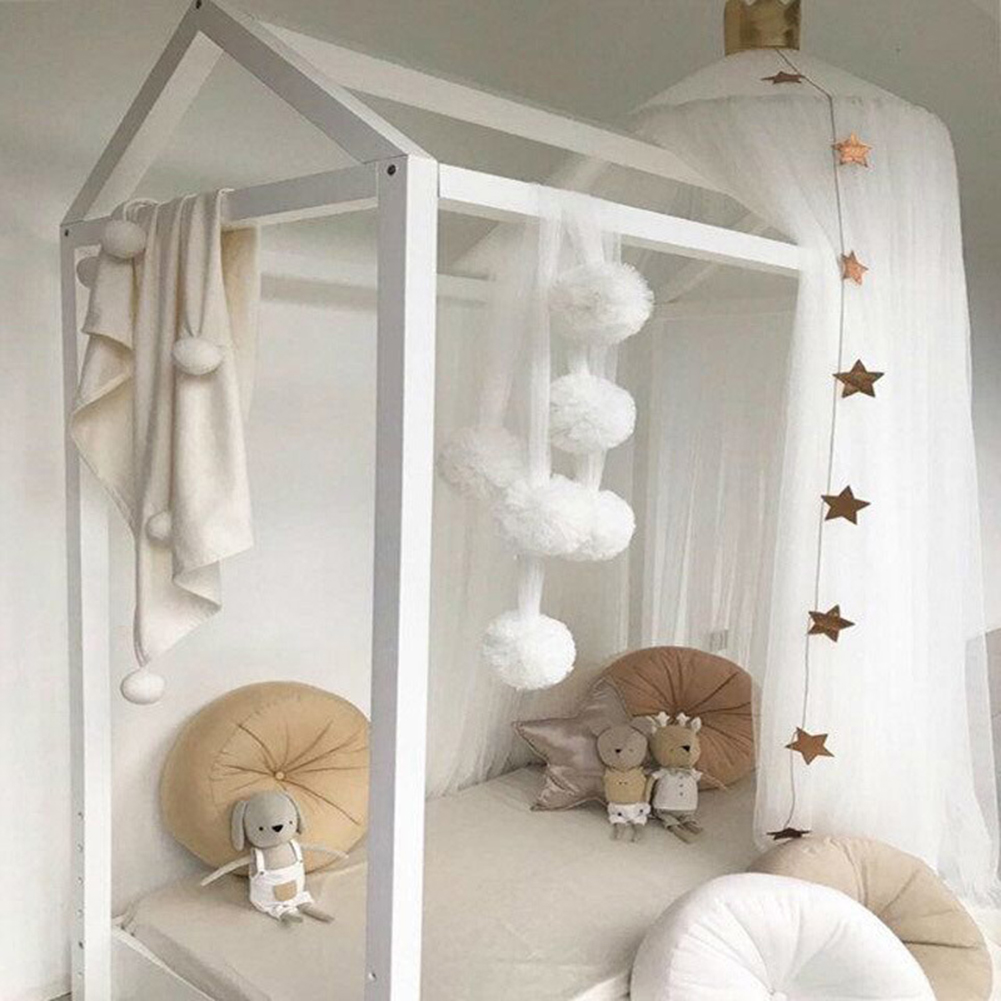 Baby Room Decoration Garland Gauze Ball Garland Bunting for Wedding or Party Children's Room Mosquito Net Crib Net Accessories D