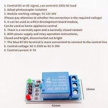 Module de relais à carte bleue 1 canal, avec optocoupleur, sortie de module de relais d'isolation, déclencheur de bas niveau électronique, bricolage