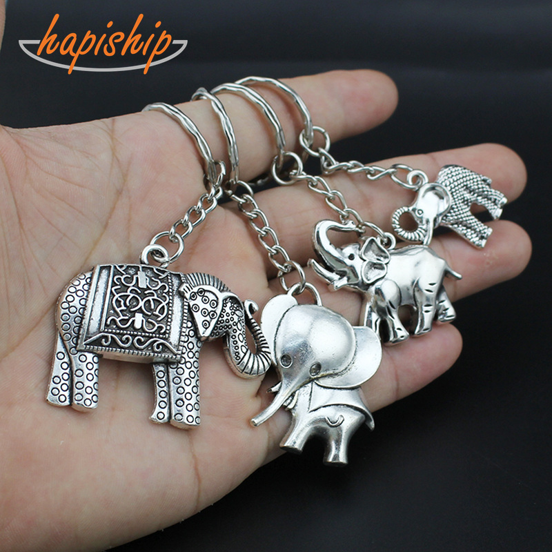 Hapiship 2018 New Women/Men's Fashion Vintage Silver Cool Elephant Key Chains Key Rings Alloy Charms Gifts YSDY126 Wholesale