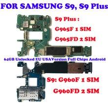 Scheda madre originale per Samsung Galaxy S9 Plus G965F G965FD G960F G960FD Dual Sim Card 64G 128G scheda logica sbloccata Clean IMEI