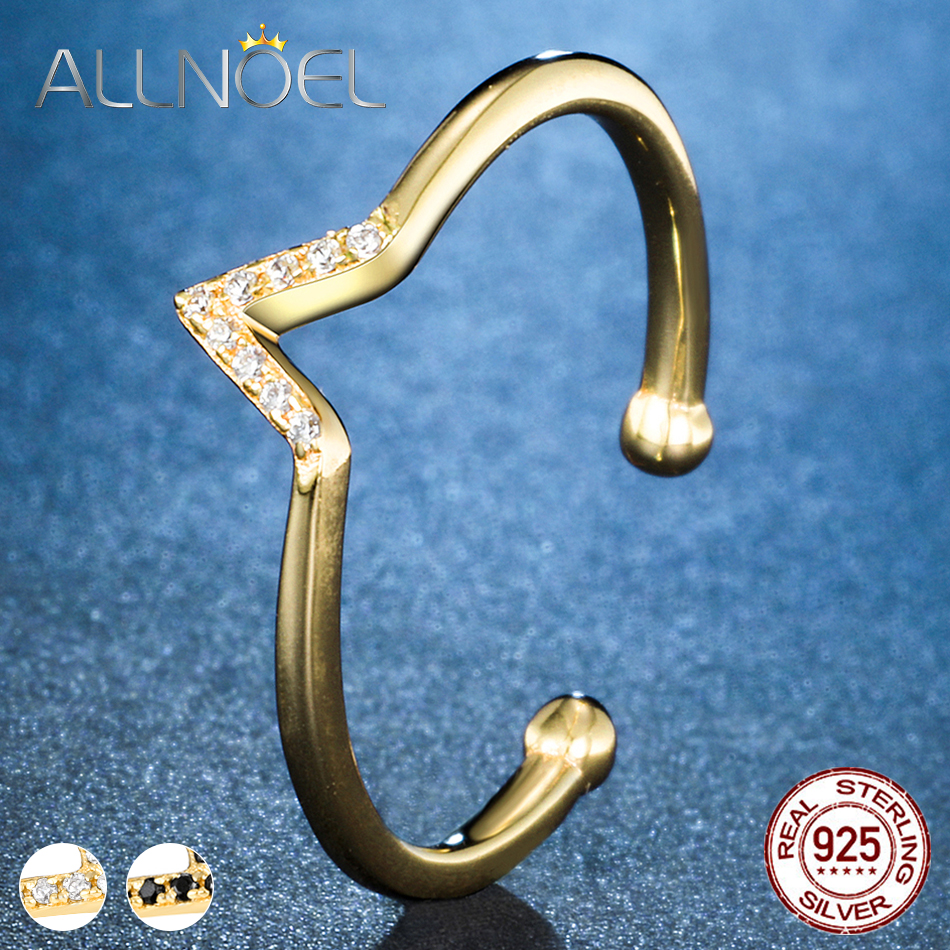 ALLNOEL 925 Silver Adjustable Rings for Women Zircon Diamond Ring Engagement Ring set Fine Jewelry Romantic Silver 925 Jewelry