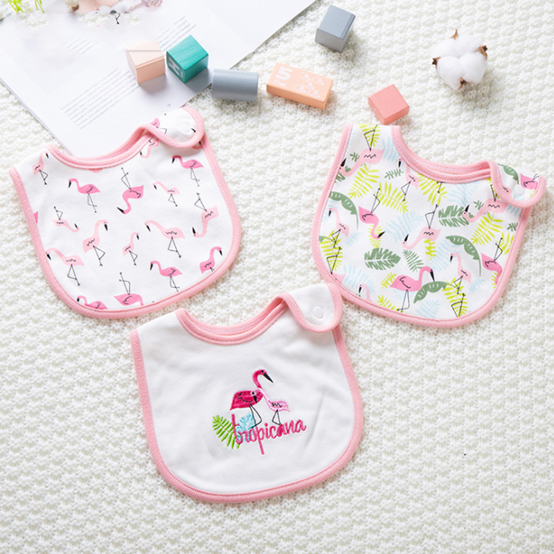 Cotton Waterproof Baby Bib Bib Bib Baby Bib Button Saliva Towel 3 Suits