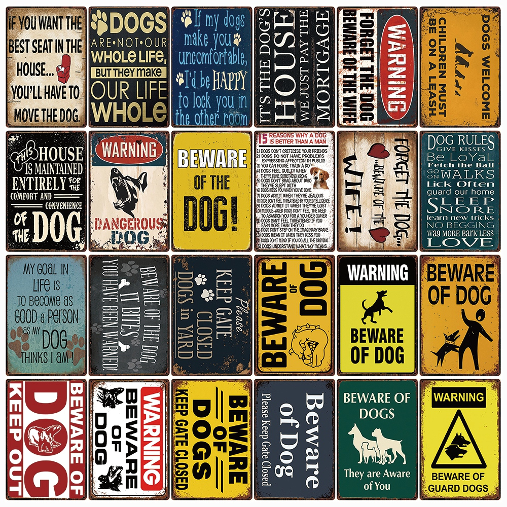 Beware of Dogs Keep Gate Closed Sign Plaque Available in 30 Colours /& 2 Medium Sizes