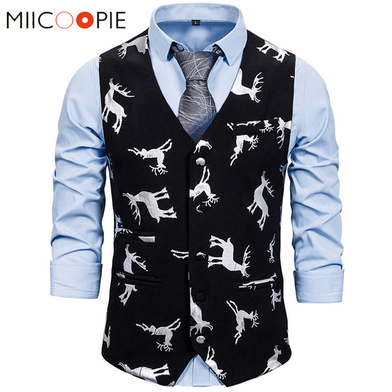 Christmas Waistcoat For Men Party Prom Gold Bronzing Elk Printed Panciotto Slim Business Wedding Tuxedo Mens Vest Gilet Homme
