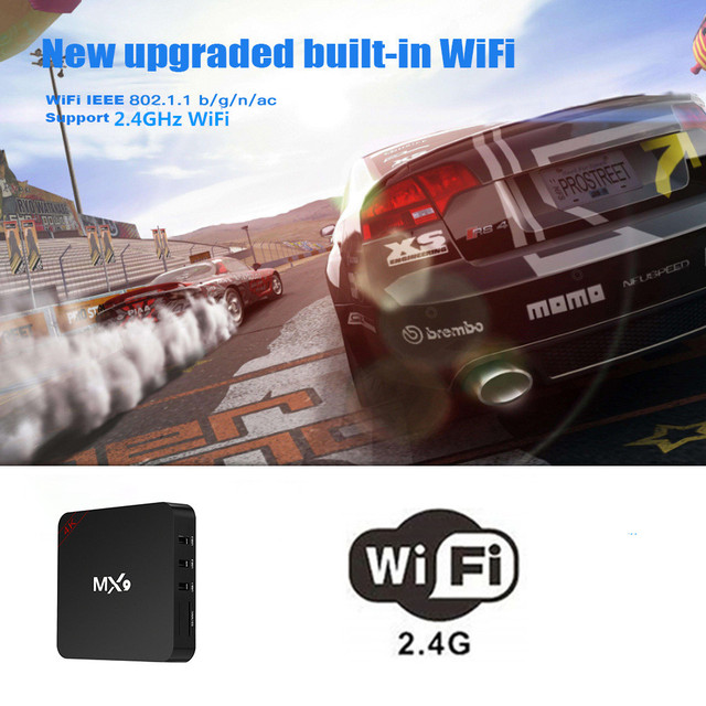 Android 7,1 TV BOX MX9 RK3229 Quad Core 2GB RAM 16GB ROM 2,4 GHz WiFi BT 4,0 Smart set-Top-Box Google 4K HDR Media Player